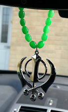 Silver Plated Punjabi Sikh Large Khanda Pendant Car Hanging in Green Beads