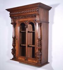 *Antique French Wall/Display/Bar Cabinet in Walnut with Beveled Glass Doors