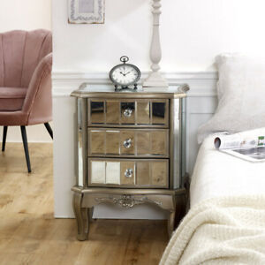 Mirrored 3 drawer bedside table antique silver vintage shabby chic bedroom chest