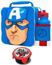 MARVEL CAPITAN AMERICA 3d Borsa pranzo/scatola e bottiglia 500ml Set con Spuntino Pot