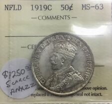 Newfoundland 1919 C  50 Cents Choice BU  ICCS MS 63 excellent Eye Appeal