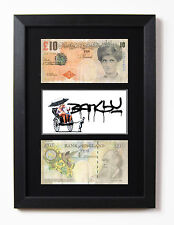 2 FRAMED BANKSY DIFACED TENNERS £10 NOTE TEN POUND RICKSHAW BOY PRINT GIFT IDEA