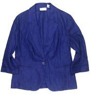 Chicos Womens 1 6 S Blue Blazer Jacket  100% Linen One Button Career Work