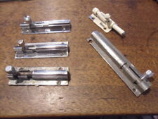 3 + 2 art deco style chrome sliding door dead bolts 3+2 well used lock bolts 5CD