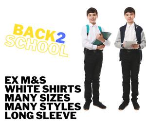 ex Marks Spencers Boys School Long Sleeve Shirt White many sizes Uniform Shirts