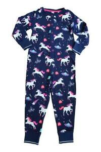Girls Unicorn All In One Pyjamas PJs Jumpsuit Playsuit Romper 100% Cotton
