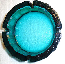 AQUA BLUE/GREEN GLASS ASHTRAY VINTAGE THICK FEDERAL  6""