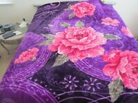 NEW! KING KOREAN style MINK heavy weight blanket FLOWERS rose purple NEW 11 lbs