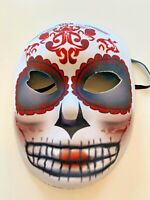 New Day of the Dead Fabric Mask White Red Black Skeleton Adult Halloween