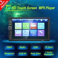 "7"" Touch Screen Car Radio Stereo Bluetooth Audio Receiver Double Din USB AUX TF"