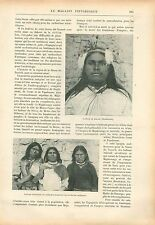 Indiens Nayares Nayarit/Houitchols Coiffure Jahoue de Mexique GRAVURE PRINT 1908