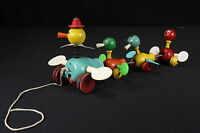 Fisher Price Gabby Goofies Wooden Ducks 1956 Pull Toy Flapping Wings & Quacking