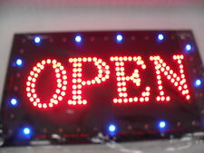 "FLASHING LED SIGN ""OPEN"" WITH FRAME MOVING LINE LARGE SIZE: 55CM X 33C"