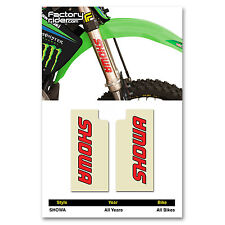 SHOWA Fork STICKERS Mx Dirt Bike GRAPHICS FITS ALL Bikes! CLEAR & RED SHOWA LOG0