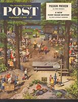 SEPT 11 1954 SATURDAY EVENING POST magazine cover print - CAMPGROUND
