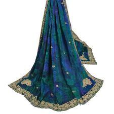 Sanskriti Vintage Blue Heavy Dupatta Pure Crepe Silk Hand Ethnic Stole