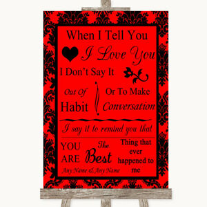 Wedding Sign Poster Print Red Damask When I Tell You I Love You