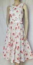 Laura Ashley Sommerkleid 40 Rosen Blumen vintage Hochzeit weiß rosa rot Kleid