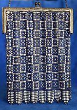 Antique 1920's WHITING & DAVIS Enamel Metal Mesh Blue QUILT Flapper Chain Purse