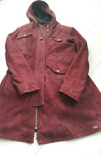 Tigha Damen Wild Leder jacke Women Mantel mit Kapuze Rot Sheep Leather Size S