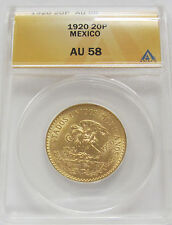 1920 Mexico Gold 20 Pesos Certified AU58 *Aztec Calander Beautiful Coin