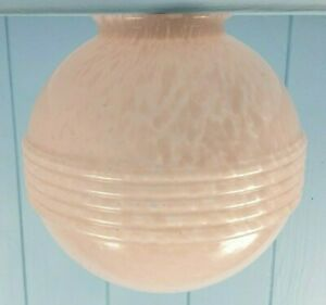 LIGHT SHADE LAMP SHADE ART DECO 1930s GLASS PINK MADE IN ENGLAND