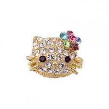 Kitten Kitty Cat Cocktail Ring Costume Jewelry Rhinestone Clear Adj Sz Gold Tone