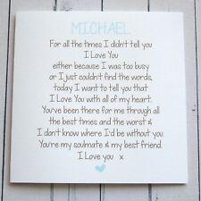 PERSONALISED romantic card HUSBAND BOYFRIEND PARTNER ANNIVERSARY BIRTHDAY CARD