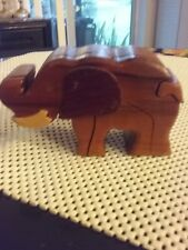 Vintage Hand made wooden puzzle trinket box Elephant shaped