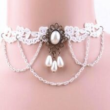 Gothic Necklace made of Lace White Pearls Collar Choker Baroque