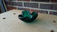 VINTAGE 60's MURANO EMERALD GREEN ART GLASS ASHTRAY BOWL 10CM DIAMETER