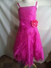Pink Prom Dress Hot Pink Polyester Feel Sequins & Layers of Ruffles Girls XL VGC