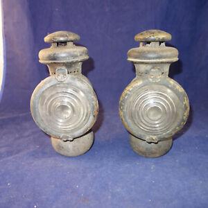 2 Antique VTG MODEL T FORD Automobile Buggy Oil Kerosene Head Lamp Lantern (kf)
