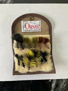 Vintage Orvis Fleece Fly Wallet W/ One Dozen Flies