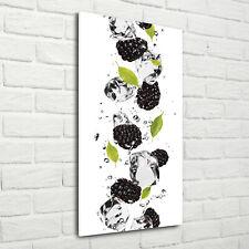 Wandbild Kunst-Druck auf Hart-Glas hochkant 70x140 Brombeeren Wasser