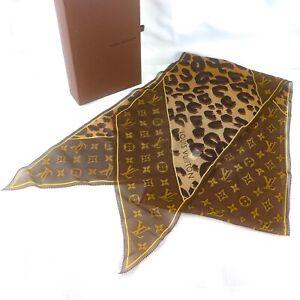 LOUIS VUITTON ECHARPE MONOGRAM LEOPARD Scarf Foulard 100% Silk M72123 Brown