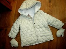 AUTH BURBERRY BEIGE & NOVA CHECK DIAMOND QUILTED JACKET / COAT & GLOVES 18 MTHS