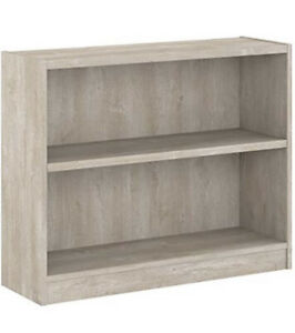 Bush Furniture Universal 2 Shelf Bookcase in Washed Gray Color
