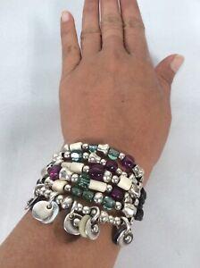 Statement Uno De 50 Silver Tone Leather Purple Green Beads bracelet