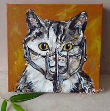 Mad Max Cat Original Acrylic Painting on Canvas Film Art Steampunk Animal