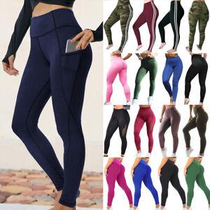 Women Push Up Yoga Pants Leggings Sports High Waist Stretch Pockets Gym Trousers