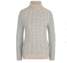 NWT Eleventy Cashmere Sweater Womens Medium Alpaca Cable Knit Chunky Gray Pink