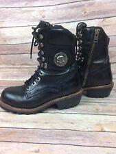 Women's Black Leather Harley Davidson Motorcycle Boots Side Zipper   Size 8 1/2
