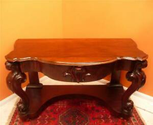 Large Victorian Mahogany Hall Display Table, Freize centre drawer carved