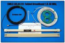 Folded Dipole Broadband, QRP, SWL, Ham, OC,1.8-50 Mhz, 20W SSB, 45 feet