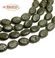 Lava Perlen schwarze Oliven 10x14 mm, 1 Strang BACATUS Edelsteine