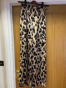 BNWT Ladies Brown Black Leopard Print Flared Trousers From NASTY GAL UK 8