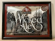 """Vintage Pete's Wicked Ale Mirror Sign 21.5"""" X 14.5"""" Bar Man Cave"""