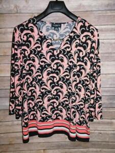 Liz Claiborne Career XXL 2X Black Red Print Shirt Keyhole Chain Stretch Knit Top