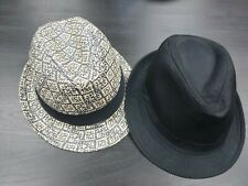 2 Black and White Gray Fedoras Unisex Men Women One size fits all